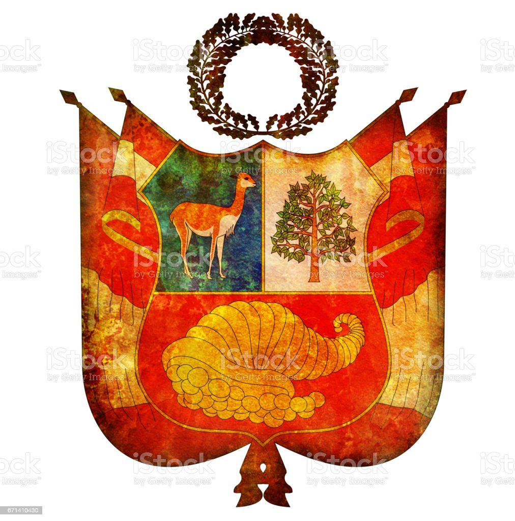 coat of arms of peru stock photo