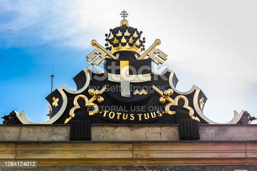 Czestochowa, Poland - 02.08.2020 -Coat  of arms of Pope John Paul II on monastery of Jasna Gora in Czestochowa