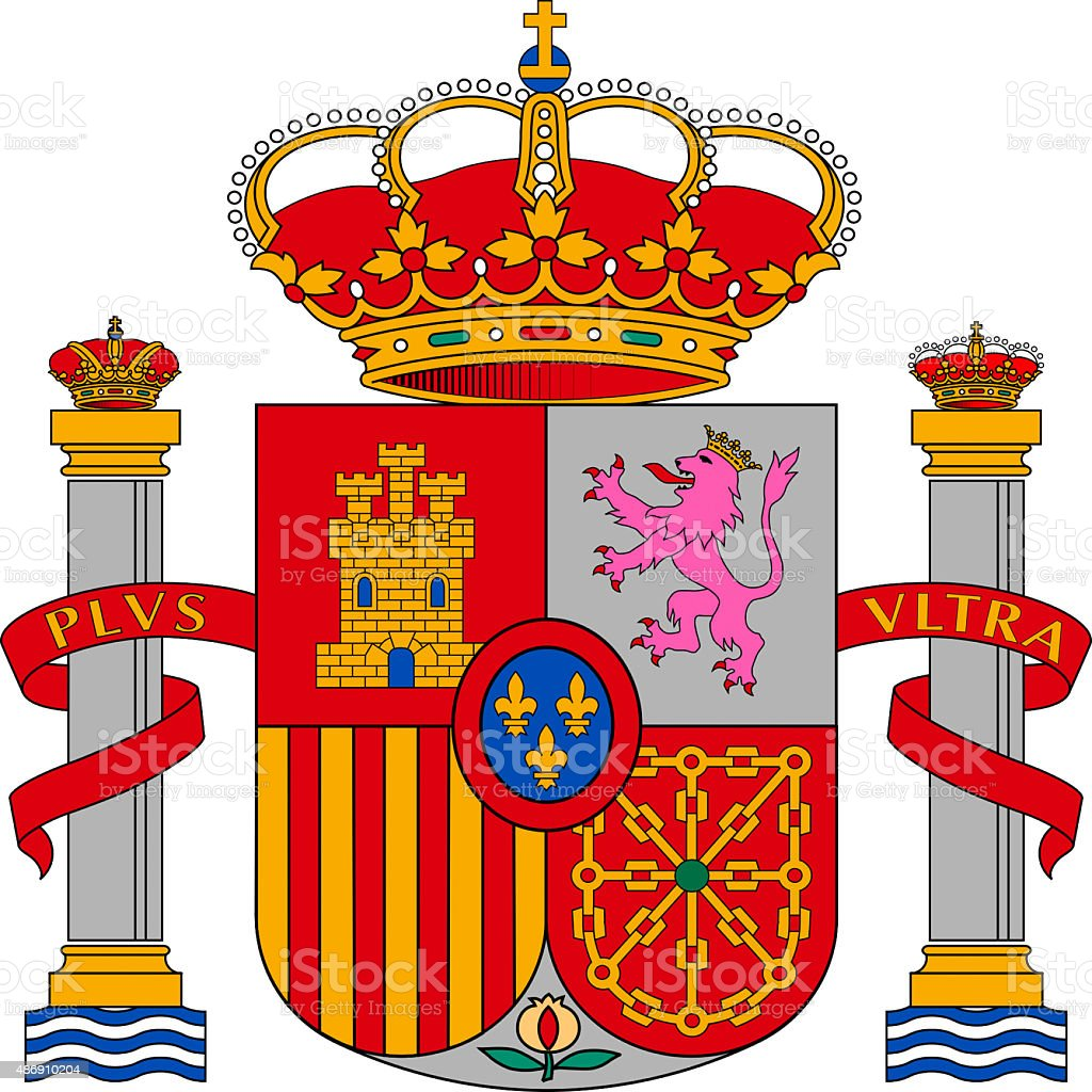 Coat of arms of Spain stock photo