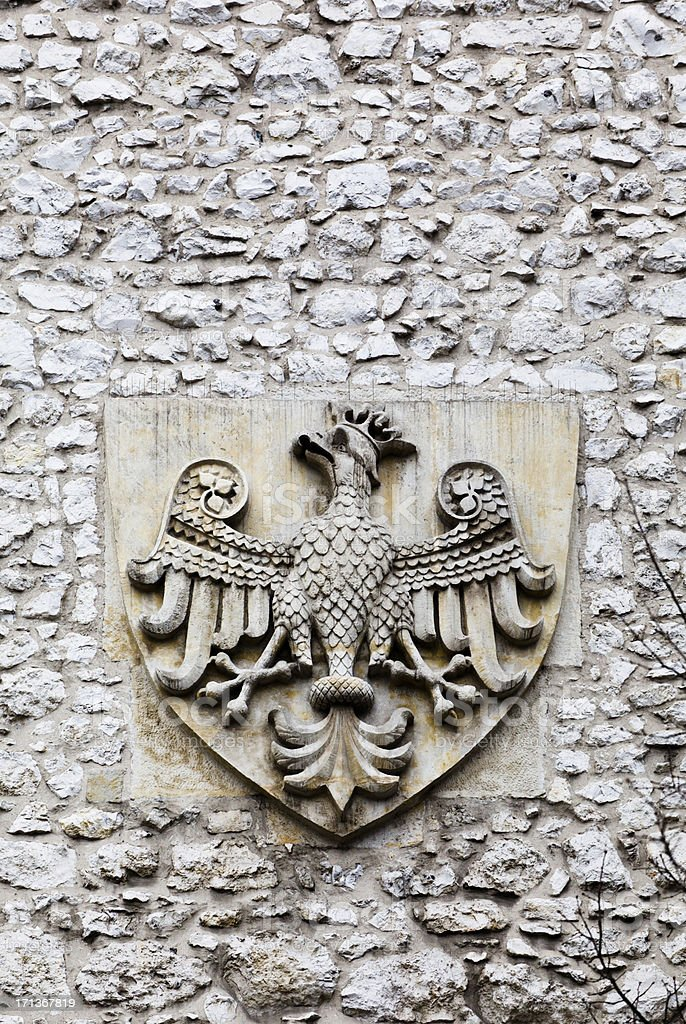 Coat of arms on Florian's Gate in Krakow stock photo
