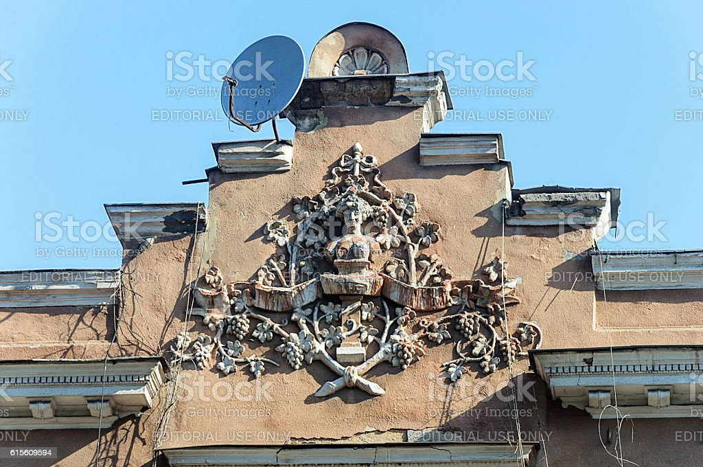 Coat of arms on the old building stock photo
