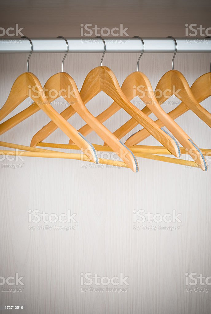 Coathangers on a clothes rail royalty-free stock photo