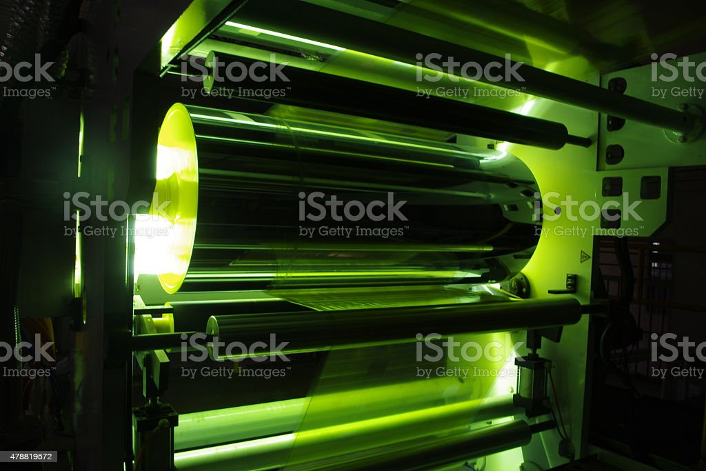 UV Coating on Plastic Film stock photo