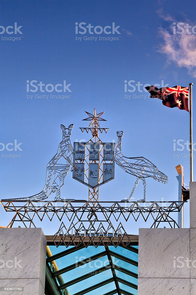 CAN Coats of arms flag sky stock photo