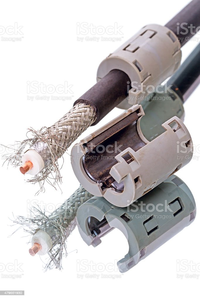 Coaxial cable and ferrite latch stock photo