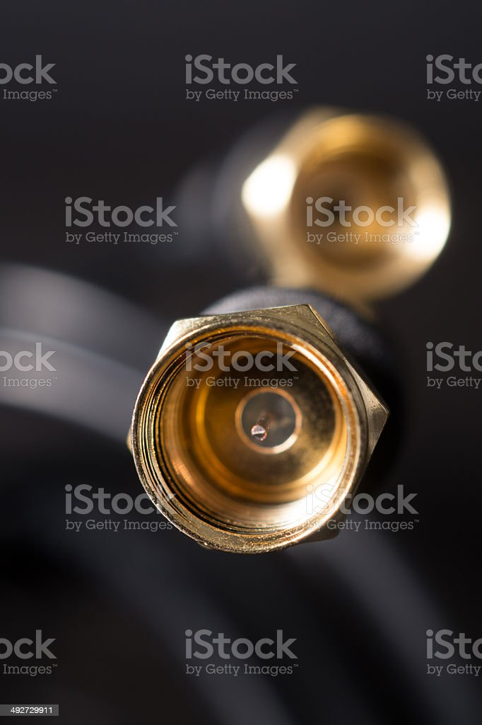 Coaxial cable close up stock photo