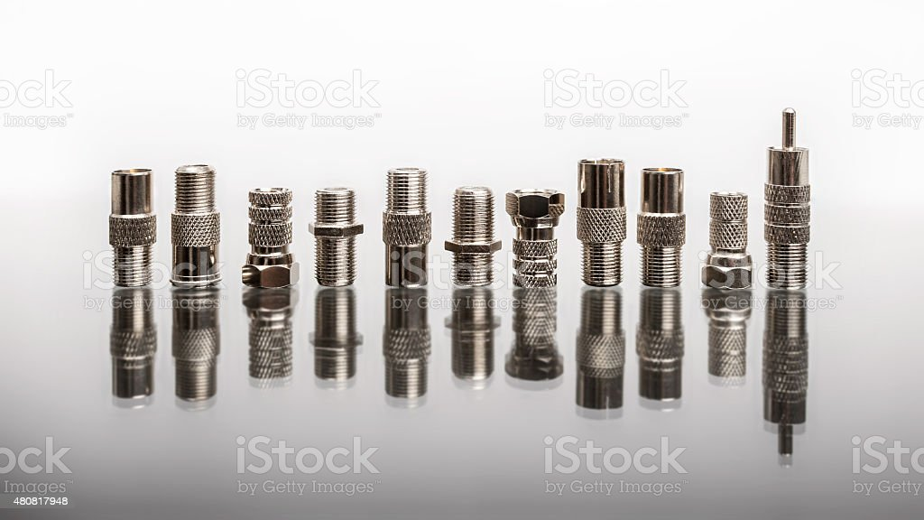 Coaxial connectors stock photo