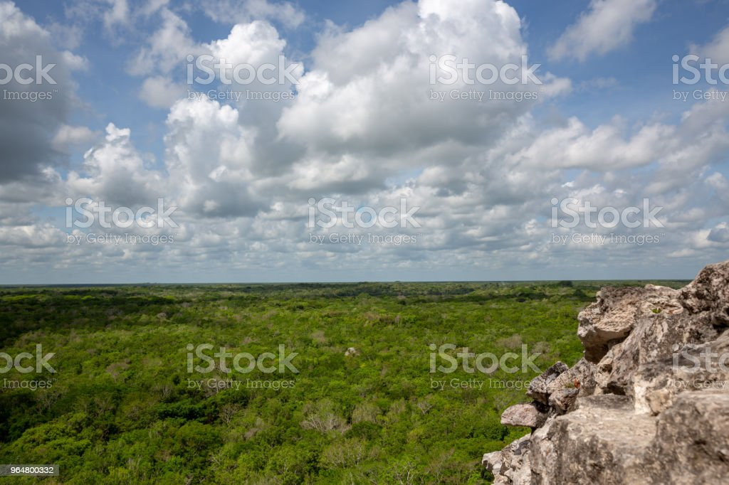 Cobà Nohoch mul Mayan pyramid with crowd of tourists royalty-free stock photo