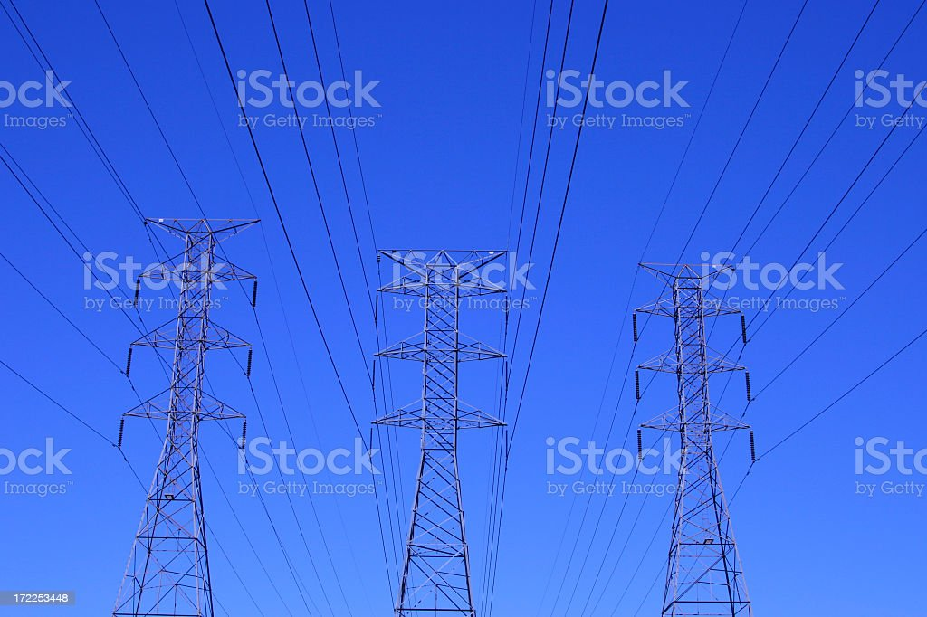 Cobalt Blue Clear Sky and Oversized Three Power Lines royalty-free stock photo