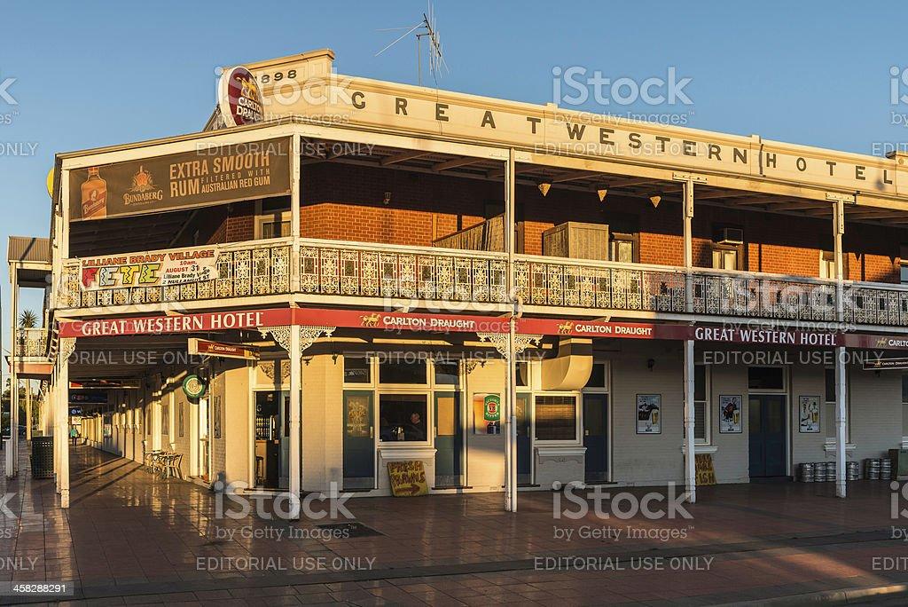 Cobar, Great Western Hotel, Australia. Late golden light. stock photo