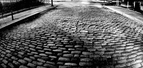 cobble stone street - black and white abstract brick street in st. louis, missouri samuel howell stock pictures, royalty-free photos & images