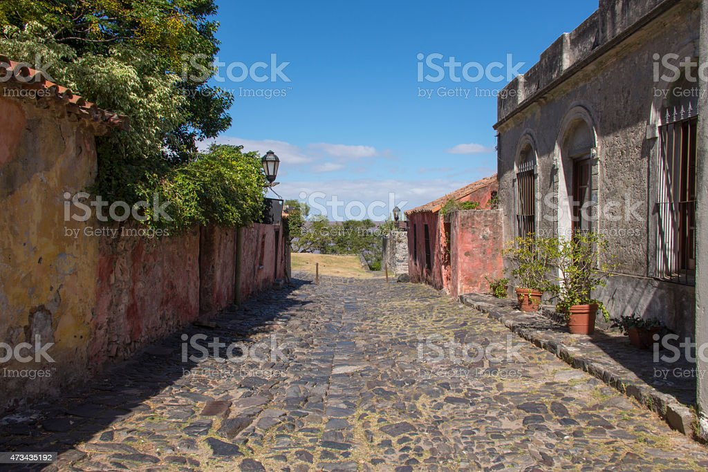 Cobble stone street in Colonia del Sacramento stock photo
