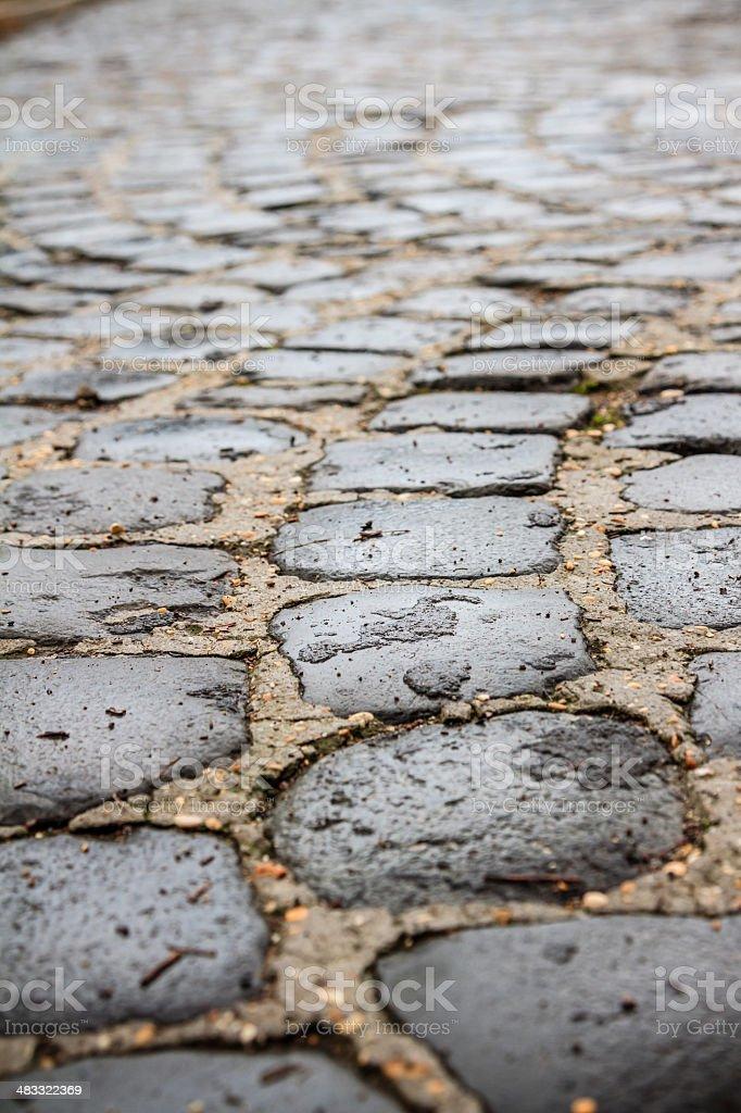 Cobbled road with sampietrini stock photo