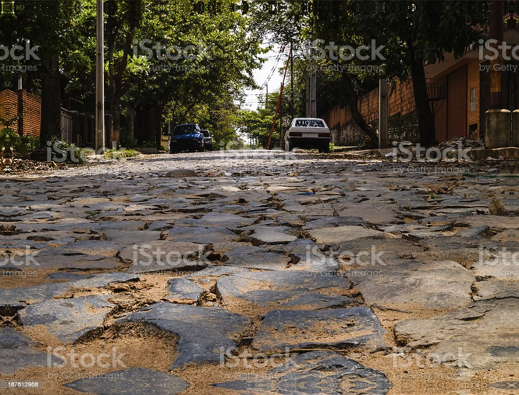 Cobbled side street in Asuncion, capital of Paraguay, South Amer stock photo