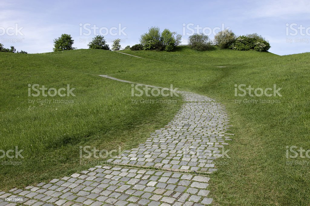 cobbled stone path on a slope royalty-free stock photo