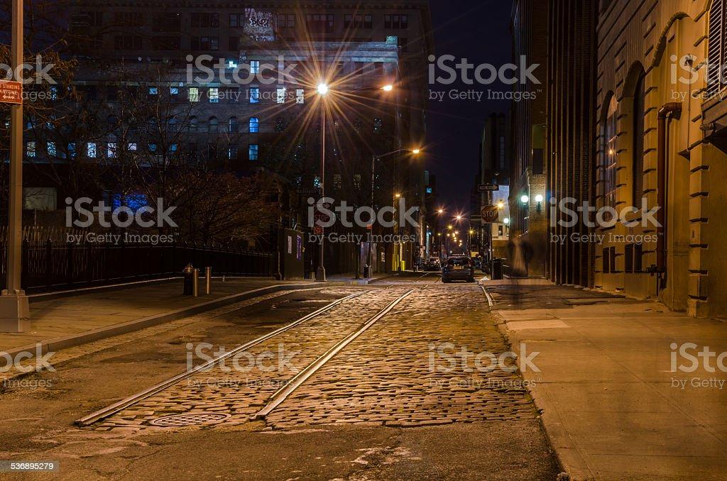 Cobbled Street at Night stock photo