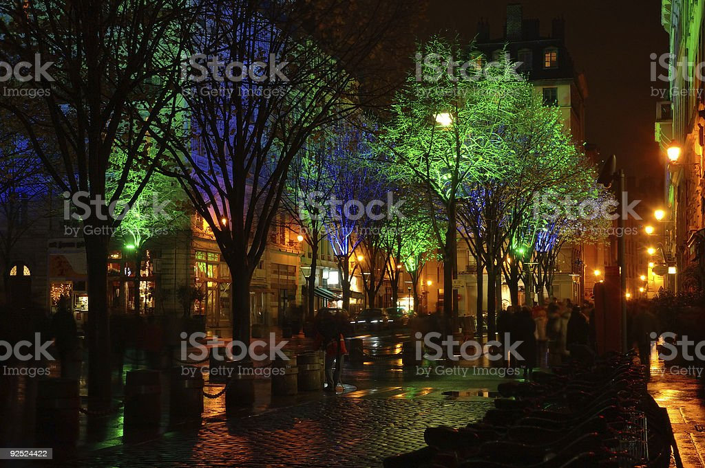 Cobbled street at night royalty-free stock photo
