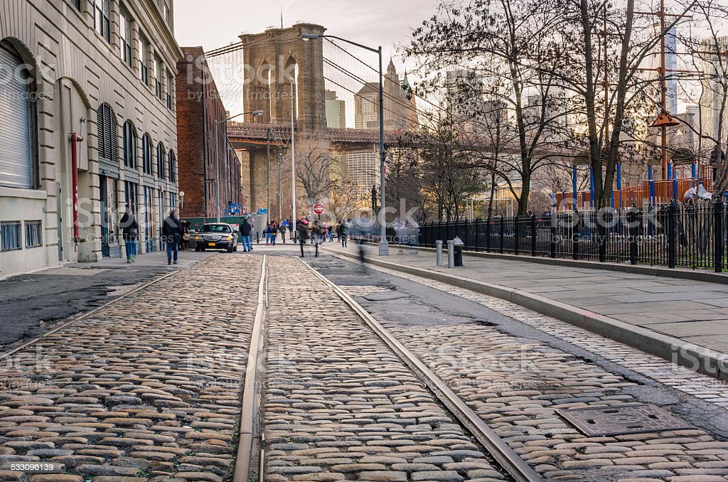 Cobbled Street in Brooklyn stock photo