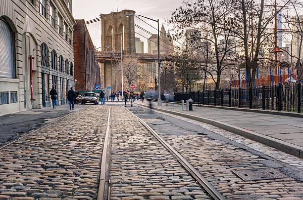 Cobbled Street in Brooklyn stok fotoğrafı