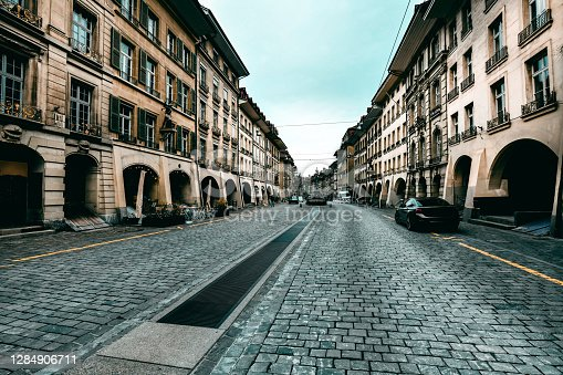 Cobbled Streets In The Center Of Bern, Switzerland