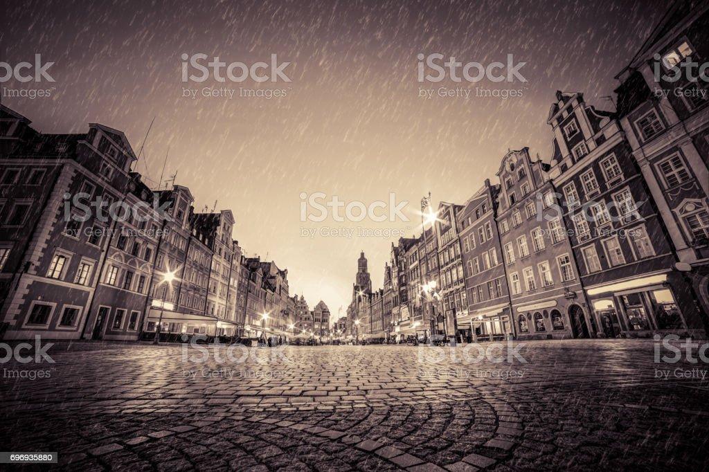 Cobblestone Historic Old Town In Rain At Night Wroclaw Poland