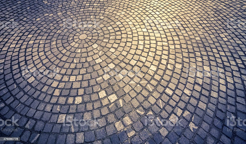 Cobblestone paved street stock photo