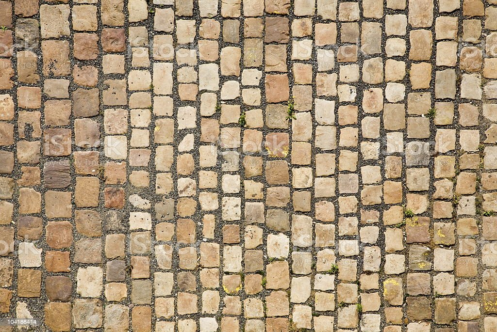 Cobblestone road in Prague stock photo