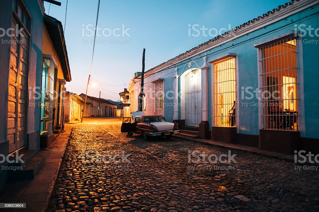 Cobblestone street at night, Trinidad, Cuba stock photo