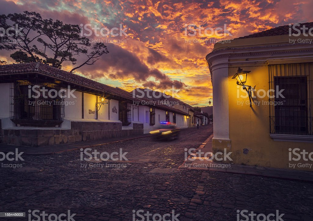 cobblestone street in Antigua Guatemal stock photo