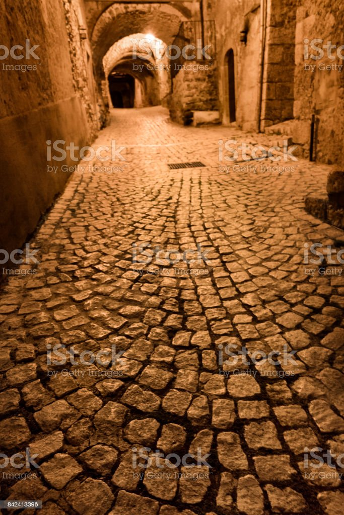 Cobblestone street in Santo Stefano stock photo