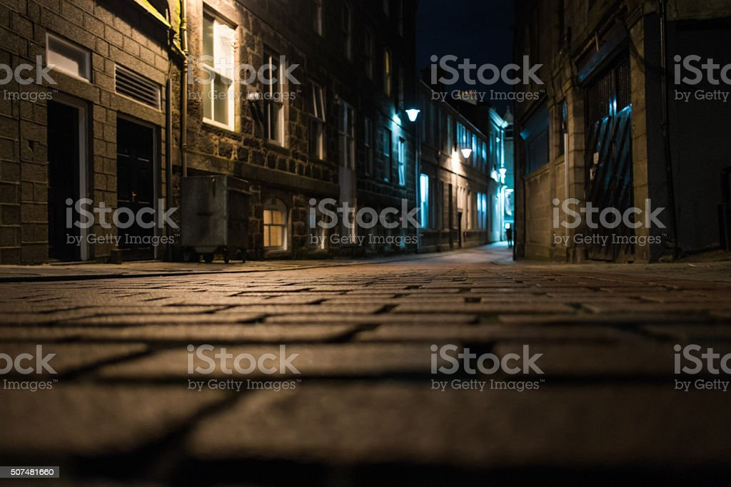 Cobblestone street stock photo