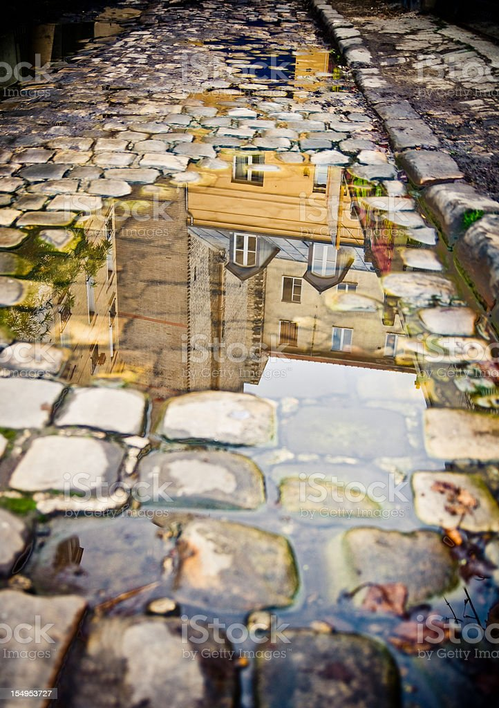 Cobblestone with water puddle royalty-free stock photo