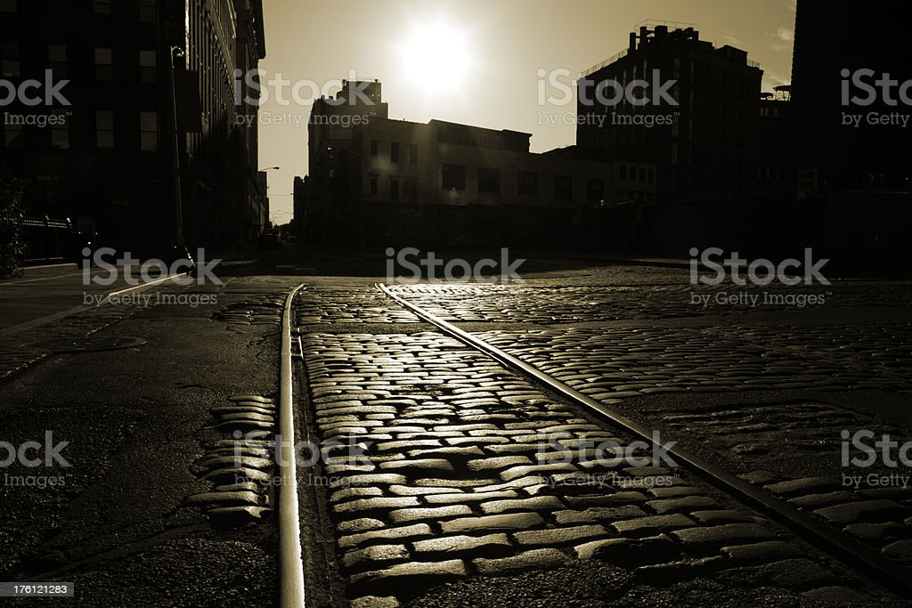 Cobblestones and Railway Tracks in Old Brooklyn Sepia royalty-free stock photo