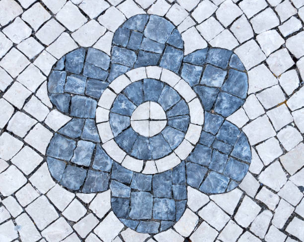 cobblestones flower mosaic stock photo
