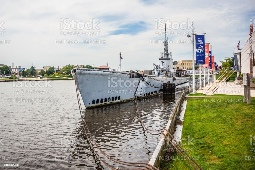 USS Cobia and Manitowoc River stock photo