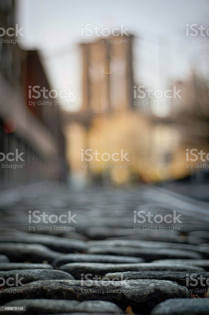 Coblestone street of DUMBO stock photo
