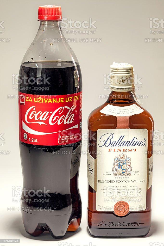 Coca Cola and Ballantine's Whiskey stock photo