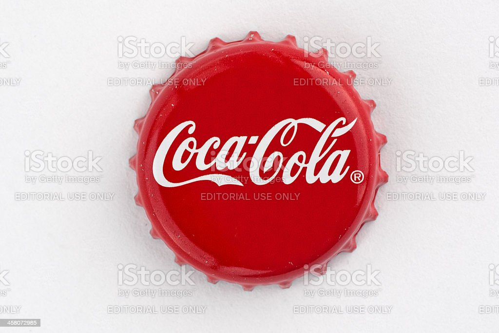 Coca cola bottle cap stock photo