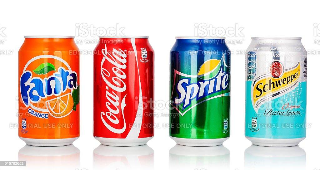 Coca Cola, Fanta, Sprite And Schweppes Cans