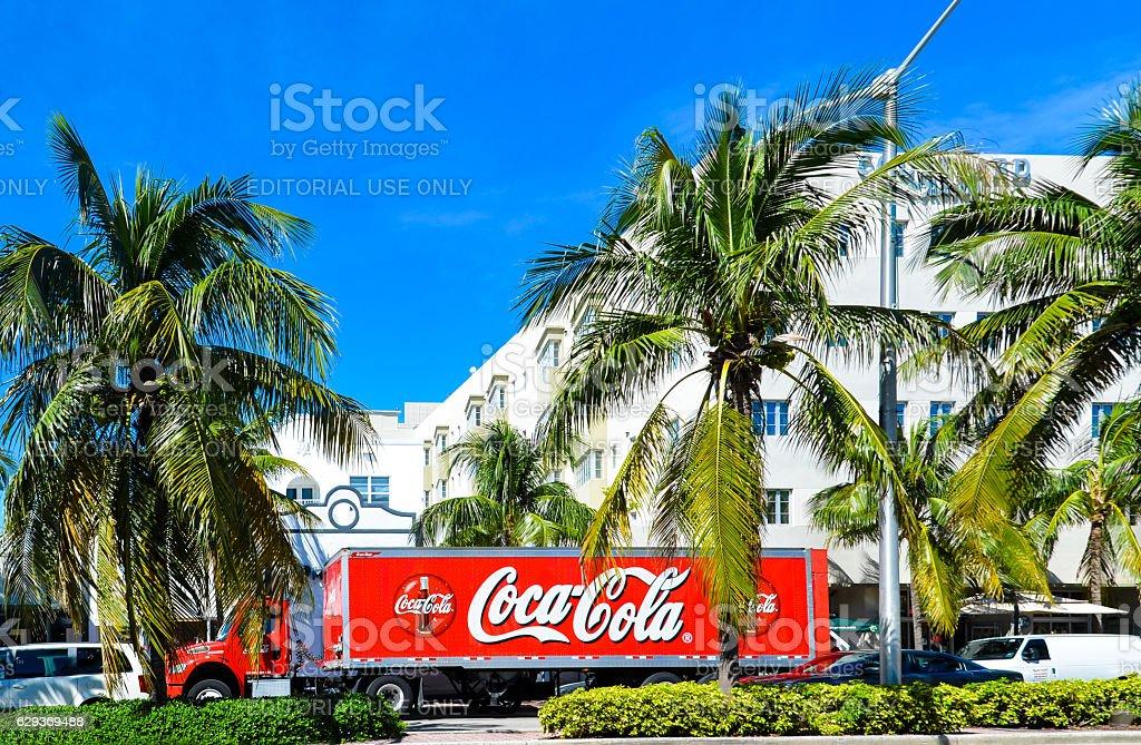Coca Cola Lorry in Miami stock photo