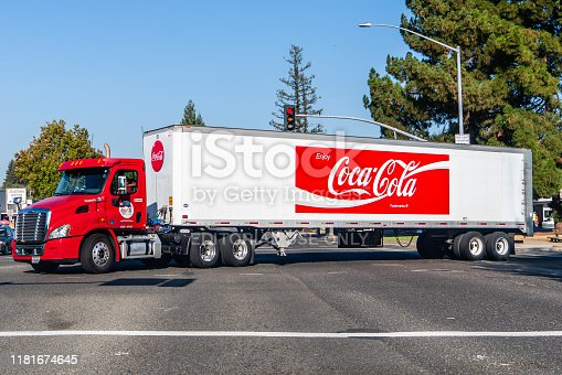 Oct 14, 2019 Mountain View / CA / USA - Coca Cola truck driving on a street in San Francisco Bay Area