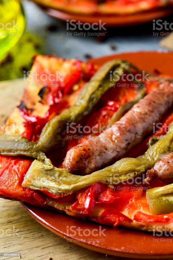 coca de recapte, catalan savory cake similar to pizza stock photo