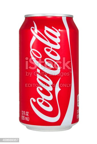Nashville, Tennessee, USA - February 28st, 2011: A 12oz can of Coca-Cola from the signature logo on the side, isolated on white.