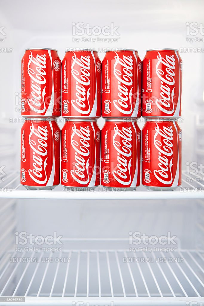 Coca-Cola Cans in Refrigerator stock photo