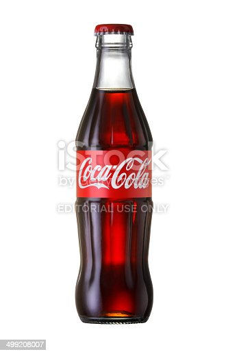 Bangkok, Thailand - JUNE 20, 2014: Coca-Cola Classic in a glass bottle Isolated on white Background.