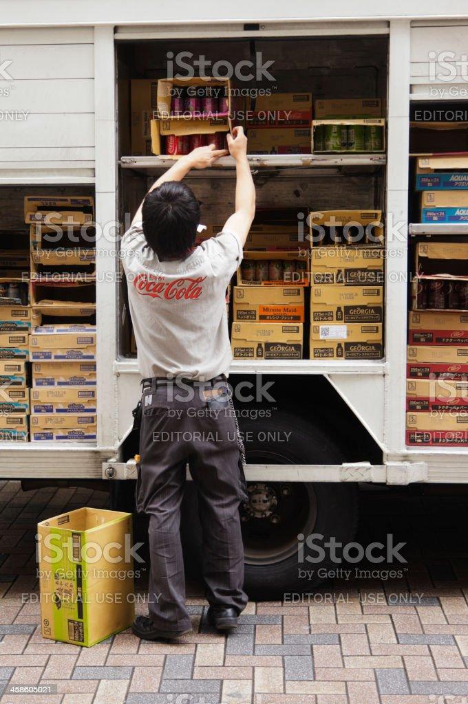 Coca-Cola Deliveryman in Japan stock photo