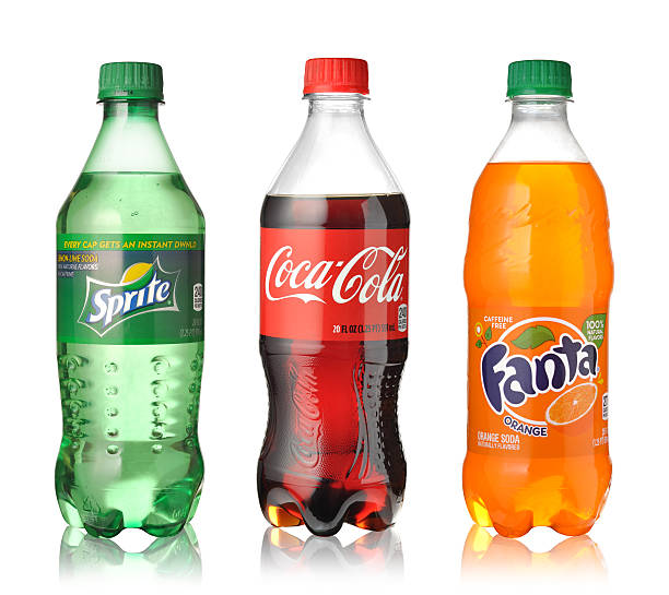 coca-cola, fanta e sprite - bottle soft drink foto e immagini stock