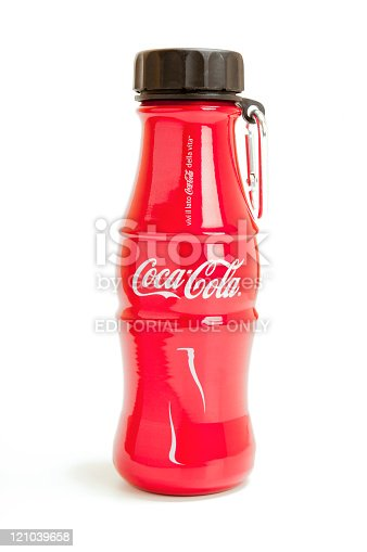 Istanbul, Turkey - April 15, 2011: Studio shot of Coca-Cola red aliminium bottle isolated on white background. The shape of the bottle has a limited production and has been marketed in Italy.
