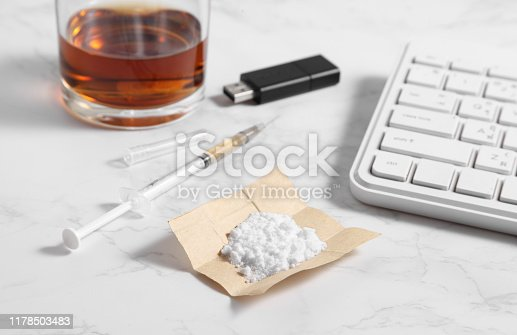 cocaine in paper and equipment for worker on marble background with a blank space for a text, Background from cocaine party in office