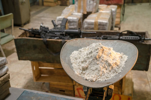 Cocaine warehouse Representation of an illegal drug warehouse drug cartel stock pictures, royalty-free photos & images